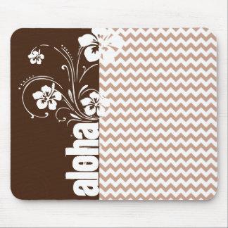 Brown Chevron Pattern; Aloha Mouse Pad