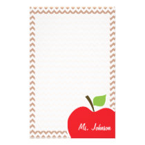 Brown Chevron Pattern; Apple Stationery
