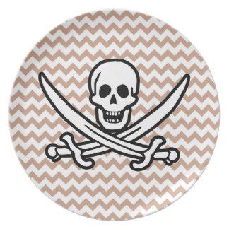Brown Chevron Pattern Jolly Roger Plates