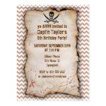 Brown Chevron Pattern Jolly Roger Postcard