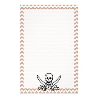 Brown Chevron Pattern Jolly Roger Customized Stationery