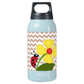 Brown Chevron Pattern; Ladybug Insulated Water Bottle