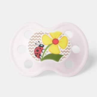 Brown Chevron Pattern; Ladybug Baby Pacifiers