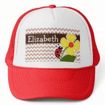 Brown Chevron Pattern; Ladybug Trucker Hat