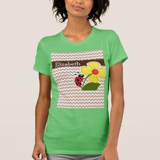 Brown Chevron Pattern; Ladybug Tee Shirt