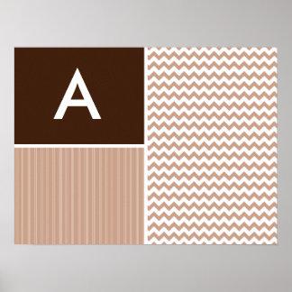 Brown Chevron Pattern Print
