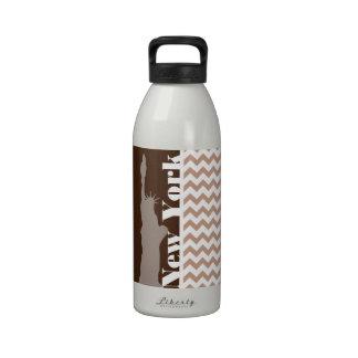Brown Chevron Pattern; Statue of Liberty Reusable Water Bottles