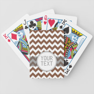 Brown Chevron Zig-Zag Pattern Bicycle Playing Cards