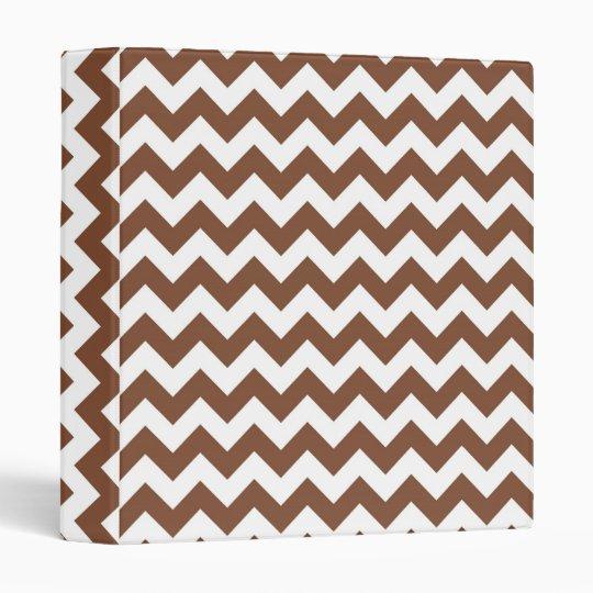 Brown Chevron Zig-Zag Pattern Binder