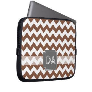 Brown Chevron Zig-Zag Pattern Laptop Sleeve