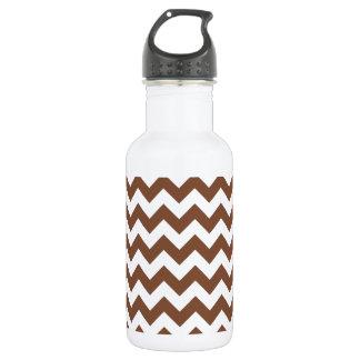 Brown Chevron Zig-Zag Pattern Stainless Steel Water Bottle
