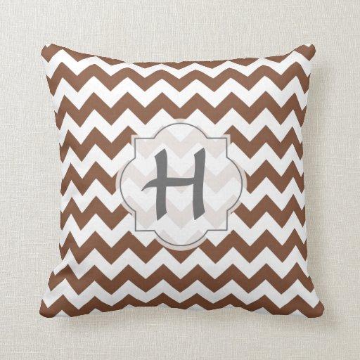 Brown Chevron Zig-Zag Pattern Throw Pillows Zazzle