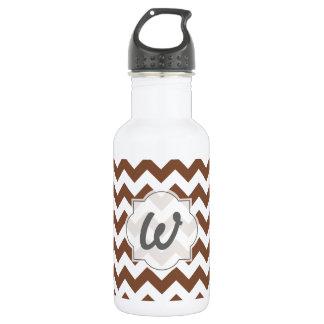 Brown Chevron Zig-Zag Pattern Water Bottle