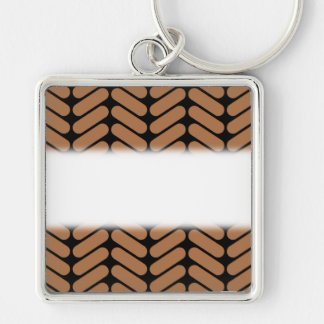 Brown Chevrons, similar to pattern of knitting. Keychain