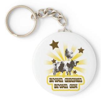 Brown Chicken Brown Cow 2 keychain