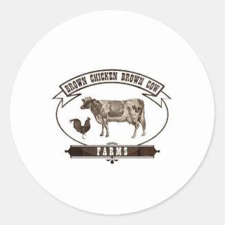 Brown Chicken Brown Cow Farms Classic Round Sticker