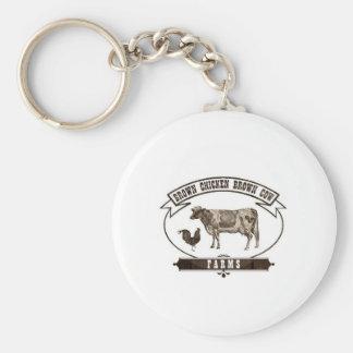 Brown Chicken Brown Cow Farms Keychain