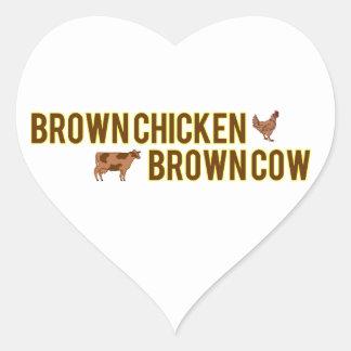 Brown Chicken Brown Cow Heart Sticker