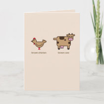 Brown chicken, brown cow Valentine's greeting card