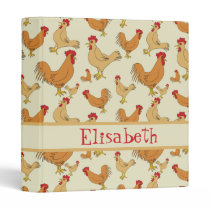 Brown Chicken Design Personalise 3 Ring Binder
