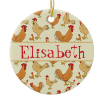 Brown Chicken Design Personalise Ceramic Ornament