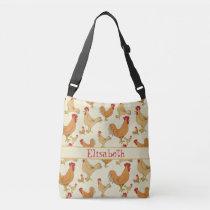 Brown Chicken Design Personalise Crossbody Bag