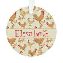 Brown Chicken Design Personalise Ornament