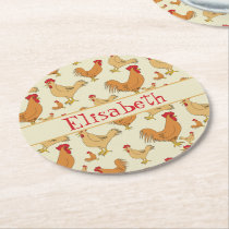 Brown Chicken Design Personalise Round Paper Coaster