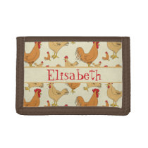 Brown Chicken Design Personalise Trifold Wallet