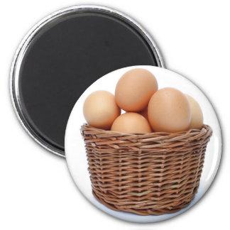 Brown Chicken Eggs 2 Inch Round Magnet