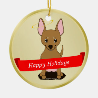 Brown Chihuahua Christmas Angel Double-Sided Ceramic Round Christmas Ornament