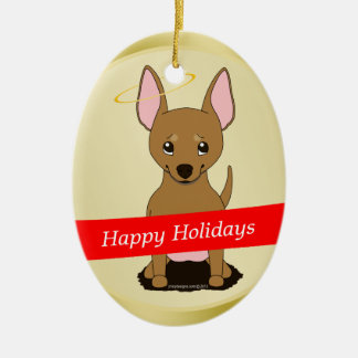 Brown Chihuahua Christmas Angel Double-Sided Oval Ceramic Christmas Ornament