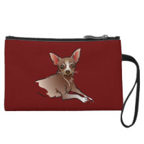Brown Chihuahua Personalized Wristlet