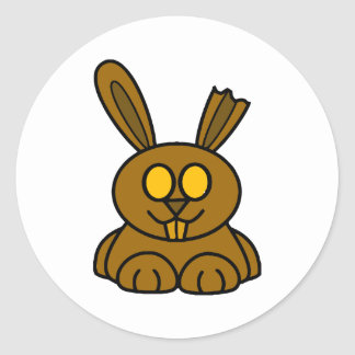 Brown Chocolate Bunny Classic Round Sticker