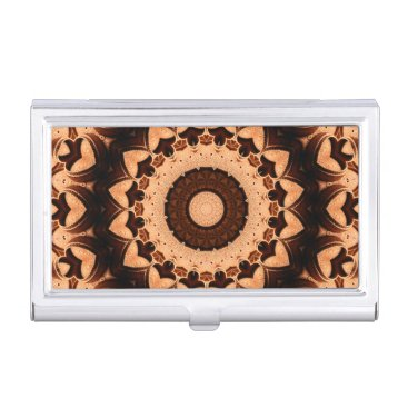 Professional Business Brown Chocolate Hearts Mandala Kaleidoscope Business Card Holder