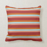 [ Thumbnail: Brown, Chocolate, Powder Blue & Dark Salmon Lines Throw Pillow ]