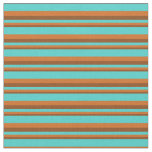 [ Thumbnail: Brown, Chocolate & Turquoise Pattern Fabric ]