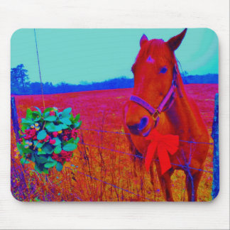 Brown Christmas colored Horse  : add name Mouse Pad