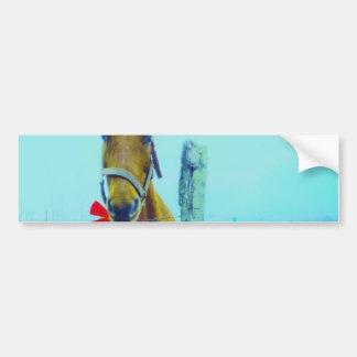 Brown Christmas Horse Bumper Sticker