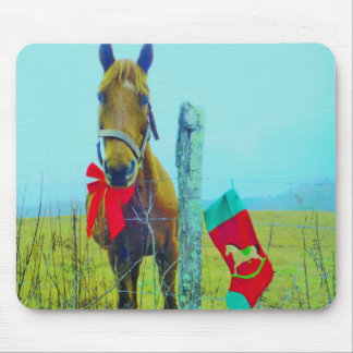 Brown Christmas Horse Mouse Pad