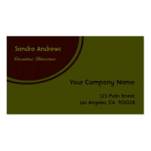 Brown Circle Olive Green Double-Sided Standard Business Cards (Pack Of 100)