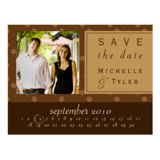 Brown Circle Save the Date Card