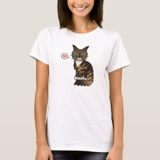 Brown Classic Tabby And White Maine Coon Cat Love T-Shirt
