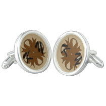 Brown Clover Ribbon by Kenneth Yoncich Cufflinks