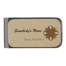 Brown Clover Ribbon by Kenneth Yoncich Gunmetal Finish Money Clip