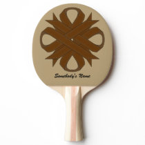 Brown Clover Ribbon by Kenneth Yoncich Ping-Pong Paddle