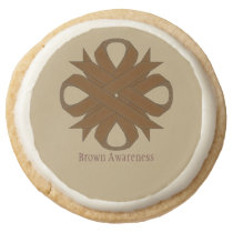 Brown Clover Ribbon by Kenneth Yoncich Round Shortbread Cookie