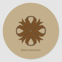 Brown Clover Ribbon Classic Round Sticker