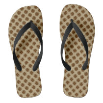 Brown Clover Ribbon Flip Flops