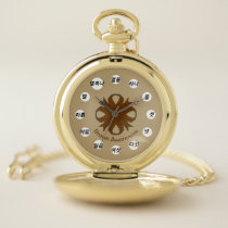 Brown Clover Ribbon (Kf) by K Yoncich Pocket Watch